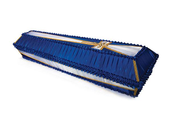 Гроб обитый тканью Крест